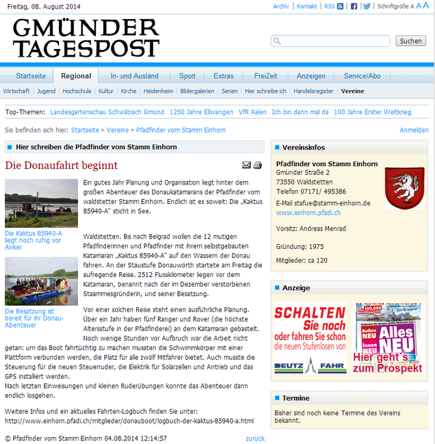 Die Donaufahrt beginnt, 2014, Gmünder Tagespost