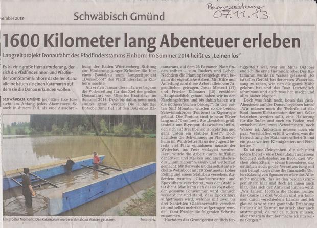 Erste Wasserlassung des Donauboots 2013, Rems-Zeitung