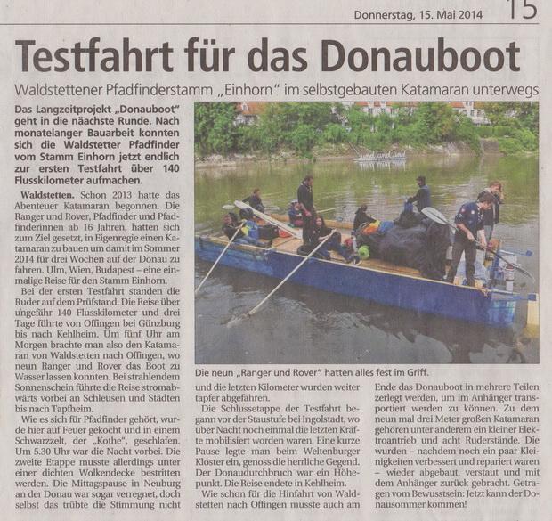 Testfahrt Donauboot 2014, Gmünder Tagespost